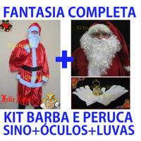Roupa Fantasia Papai Noel +kit Barba Peruca Sino Luva Óculos