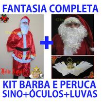 Fantasia De Papai Noel + Kit Barba E Peruca Luxo Sino Óculos