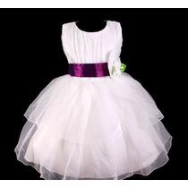 Vestido Infantil Festa Casamento Daminha Laço Roxo