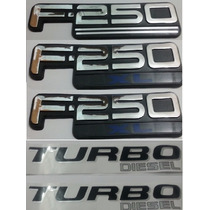 Kit Emblemas F-250 Xl Turbo Diesel Laterais Traseiro + Brind