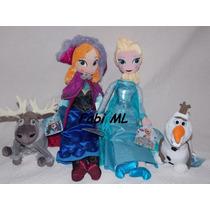 4 Bonecos Frozen-elsa, Ana, Olaf E Sven-oríginal Disney
