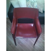 Par De Cadeiras Tok&stok Em Couro Marrom