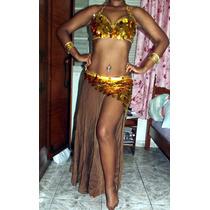 Roupa De Dança Do Ventre Dourada, Veste 42, 44