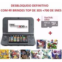 New 3ds Xl Desbloqueado+64gb +40 Brindes De 3ds+950 De Snes