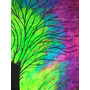 Quadro 100x80 - Árvore Tinta Fluorescente (brilha No Escuro)