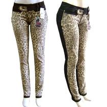 Calça Skinny Detalhe Estampado Onça Na Frente (com Lycra)
