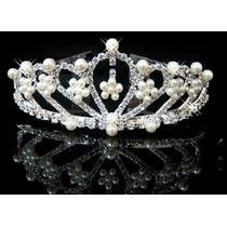 Tiara Coroa Noiva Debutante Strass Com Perolas Prateada