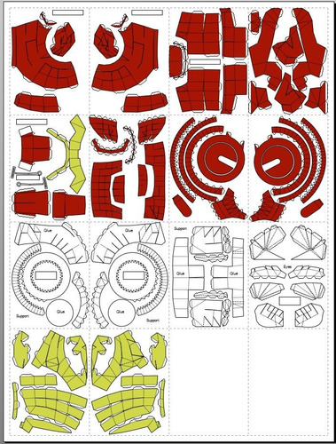 Molde De Papel Papercraft Tamanho Real Capacete Iron Man Outros