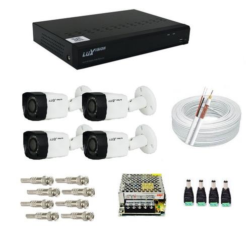 Kit Cftv Dvr Ecd Fullhd 4 Câmeras Segurança Infrav Luxvision