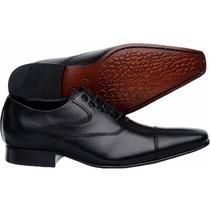 Sapato Social Masculino Tipo Ferracini Bico Fino Longo Couro
