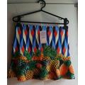 Saia Cintura Alta Vintage Estampa De Abacaxi Frutas M