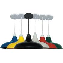 Pendente Prato Colorido Kit C/3 Lustre Luminária De Mesa