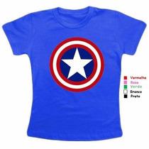 Camiseta Baby Look Capitão América Camisa Feminina