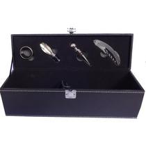 Kit Porta Vinho 4 Peças-caixa Em Couro