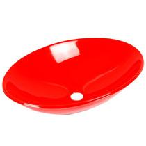 Cuba / Pia De Apoio Oval 50 Cm Para Banheiro - Vermelha