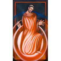 Quadro São Francisco Fogo 45x85cm Pintura Sacra Óleo S/tela
