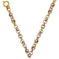 Corrente De Ouro 18k 45cm Feminina Tricolor 25,6 Gramas