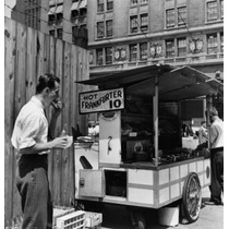 Poster (46 X 61 Cm) Mid Adult Man Eating Food Near A Hot Dog