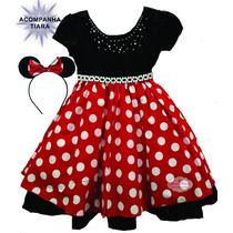 Vestido De Festa Luxo Minnie Vermelho 4 A 12 Anos Com Tiara
