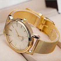 Relógio Folhado A Ouro Feminino Liga
