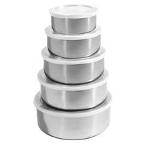 Conjunto De 5 Vasilhas Para Mantimentos-aço Inox