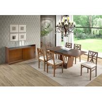 Conjunto Mesa Extensível Até 6 Cadeiras Estofadas Jequitibá