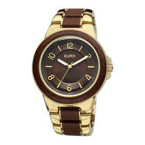 Relógio Feminino Euro Analógico Eu2036aim2m Gold Chocolate