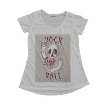 Blusinha Camiseta T-shirt Feminina Rock And Roll