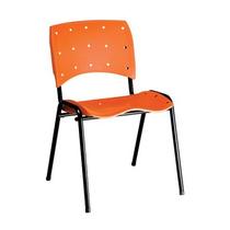 Cadeira Ergoclass Em Polipropileno Laranja Fixa Empilhavel
