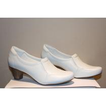 Sapato Branco Feminino Enfermagem De Couro Neftali 4750