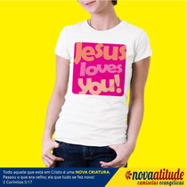 Camiseta Gospel Jesus Loves You Rosa
