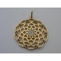 Pingente / Medalha De Ouro 18k - Imagem Abstrata Com Pedras