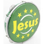 Pandeiro Luen 10 Jesus Aro Abs Verde Pele Holográfica Verde
