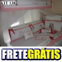 Kit Berço Personalizado 10 Pçs Gata Marie Rosa