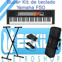 Teclado Arranjador Psr-f50 Com Fonte Yamaha + Capa + Suporte