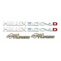 Kit Emblemas Hilux 3.0 D4d + 4x4 Turbo 8 Peças Hilux 05 Dour