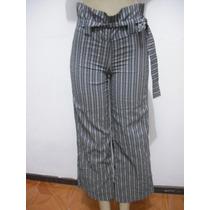 Calça Feminina Listrada Cintura Alta Com Cinto Tam 38