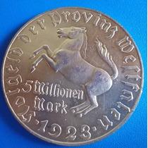 Alemanha-metal-1923-cavalinho-5 Milhoes De Mark-peso 32,7 Gr