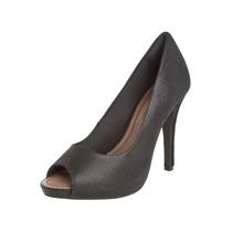 Sapato Peep Toe Ramarim Total Comfort Salto Alto Preto