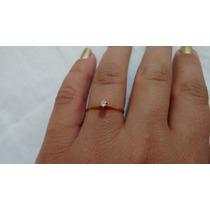 Anel Solitário Ouro Amarelo 18k 750 Diamante De 5 Pontos