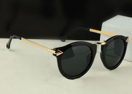 7d703a8d704f3 Comprar Óculos De Sol Retrô Dourado C Preto Onça Feminino Importado ...