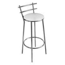 Banqueta Cromada Para Cozinha, Assento Branco, Alt 60 Cm