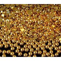 Meia Pérola Para Unhas Dourada, Prata E Branca