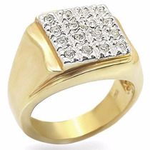 Anel Masculino Zirconias Folheado A Ouro 18k Luxo