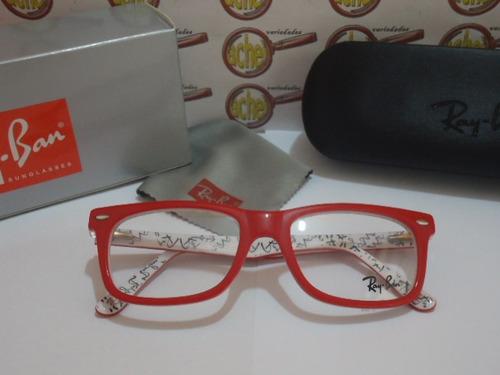 1acef4dd7 Armação Oculos Grau Rb5228 Wayfarer Vermelho Branco Ray-ban (Ray-Ban ...