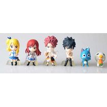 Kit C/ 6 Miniaturas Bonecos Fairy Tail C/ Base De Apoio: 8cm
