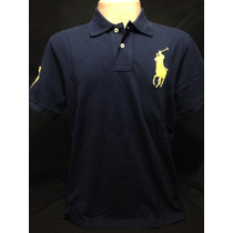 Camiseta Polo Ralph Lauren Azul Com Cavalo Amarelo Tam M