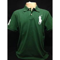Camiseta Polo Ralph Lauren Verde Big Poney Branco Tam Gg