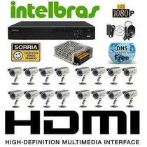 Kit Cftv 16 Cam Ir 1000l Sony Dvr 16 Intelbras 3116 Hd 1 Tb