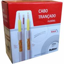 Cabo Coaxial Bipolar Cftv 4mm 80% Malha 100m Flex. Multitoc